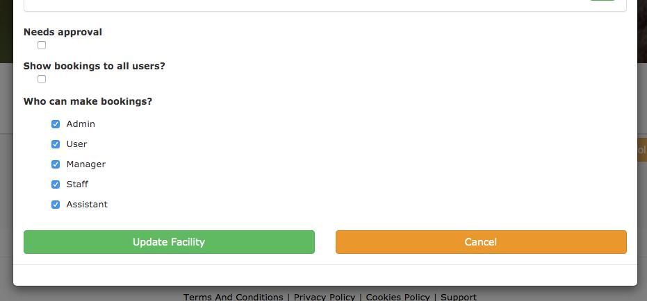 Configuring a facility