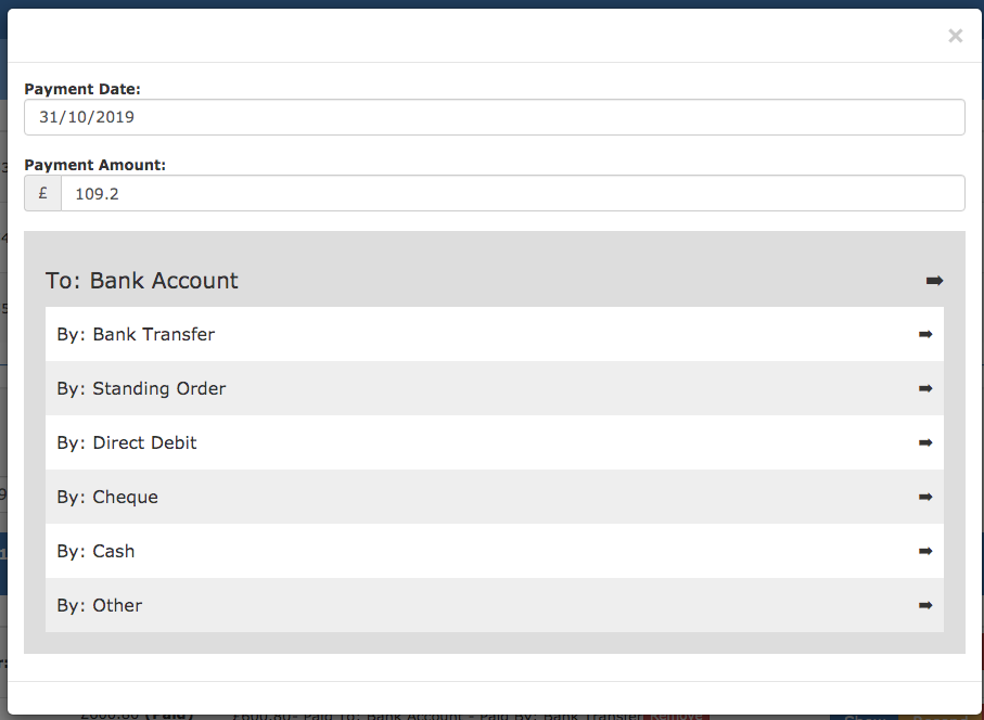 The new payment recording screen which now allows you to record much more information about the payment