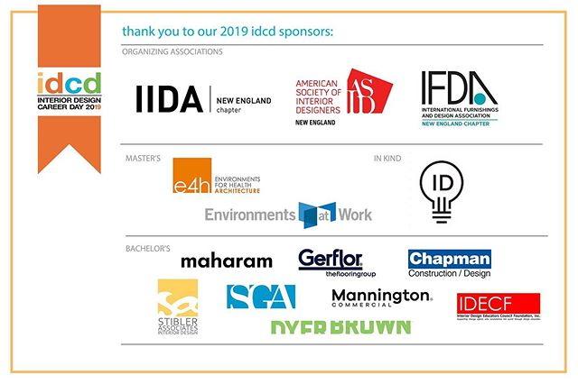 So many great sponsors already on board for this year's event!! Are you interested in sponsoring this year's Interior Design Career Day? Check out our website for opportunities.  And students, don't forget to register and enter our student competition for $$$ prizes! Check out our website for more info!  #interior #design #careerday #newengland #interiordesign #interiors #ne_idcd #asid #iida #ifda