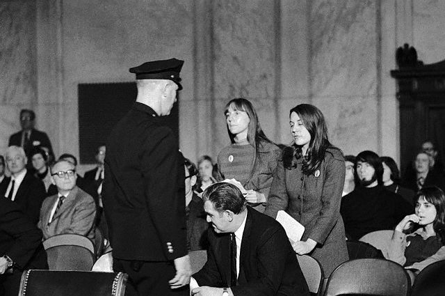 Women's liberation protesters at Nelson's first round of hearings, January 1970