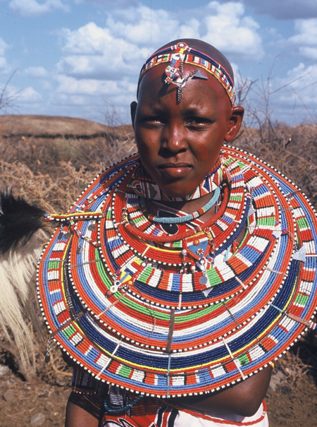 The Maasai tribe of Kenya is world-famous for its beautiful beadwork, which is created by the women of the tribe and worn in rituals and ceremonies by both men and women. It is often given as a gift on special occasions.