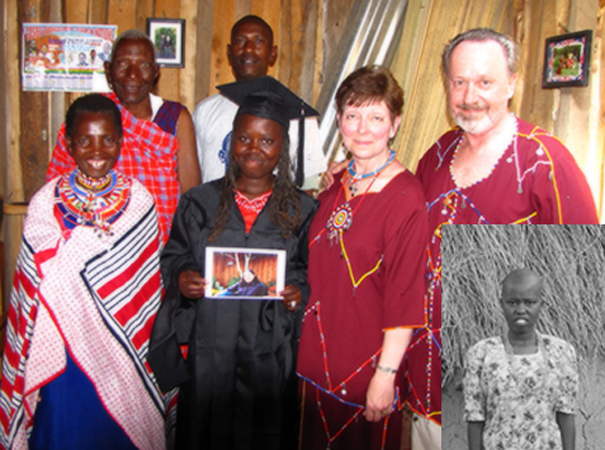 Sanaipei in the cap and gown for her graduation 'party,' arranged by her sponsors, Tony and Therese, 2008. Her father, Lolkinyiei, mother, Tayana, and her brother, Amashon; inset at the start of her sponsorship, 2005.