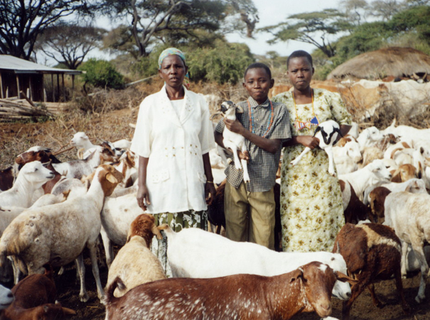 The family with their goats in their boma near Kimana in eastern Kenya. Sanaipei was not yet sponsored by BEADS.