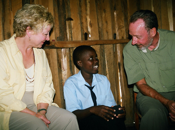 Sanaipei excitedly tells her sponsors about her 'vision' for education in her father's hut, 2006.