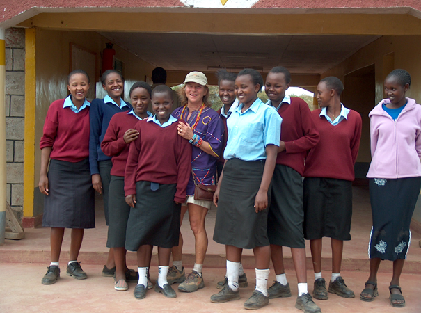 Debby Rooney with all of the BEADS girls at Kimana Secondary school, 2006.