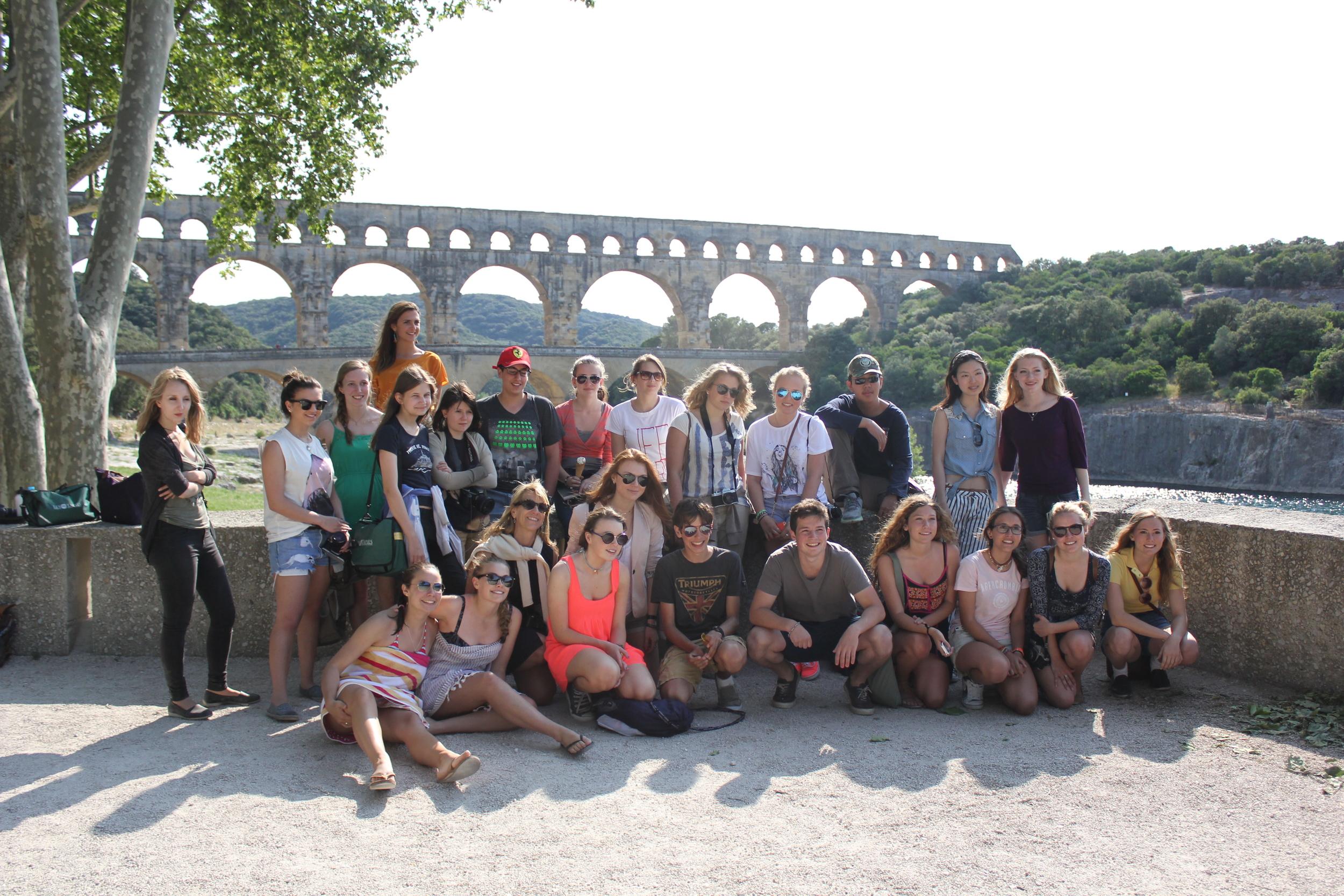 The Pont du Gard, an ancient Roman aqueduct.