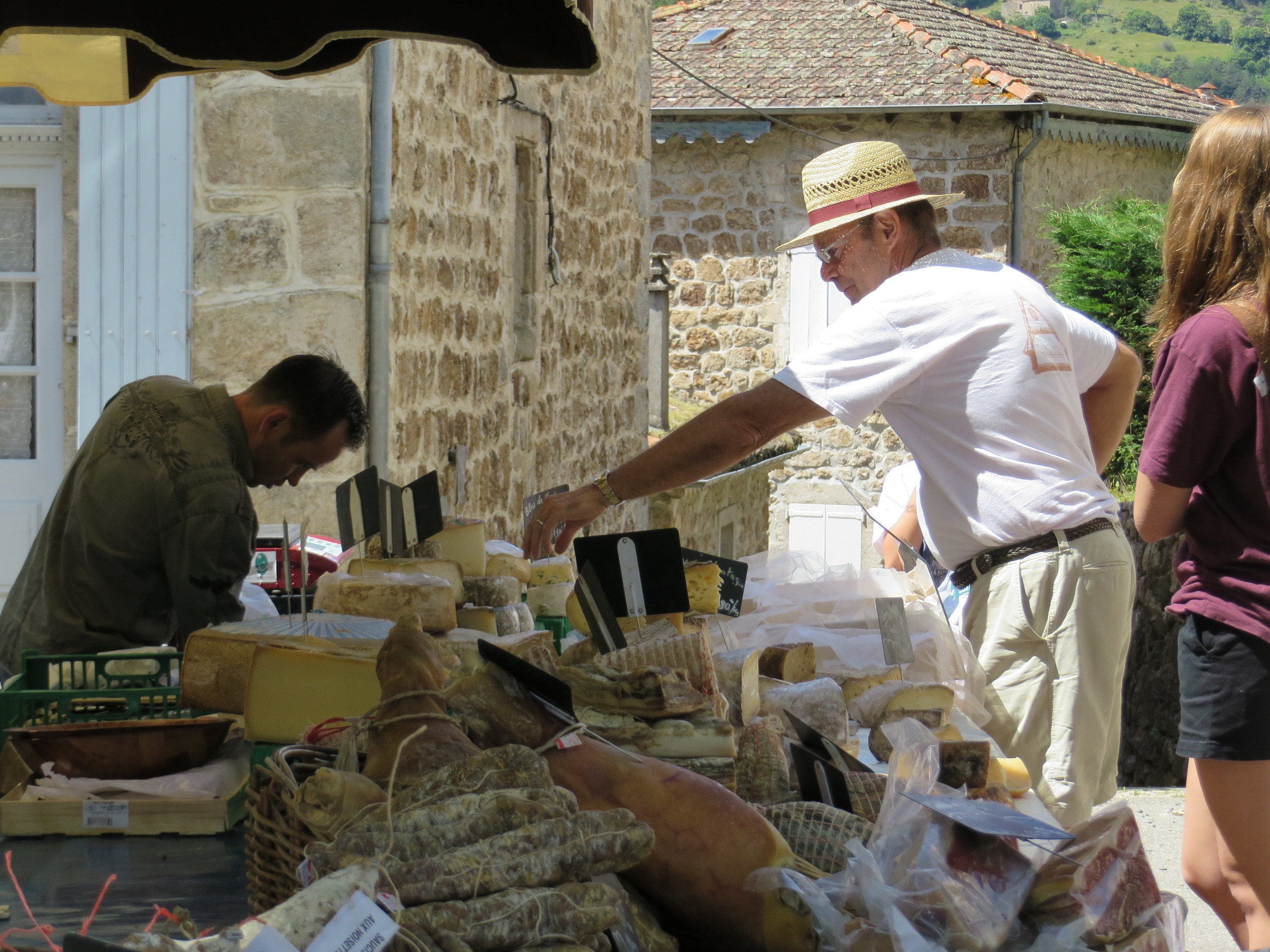 Browsing the local markets at St. Pierreville