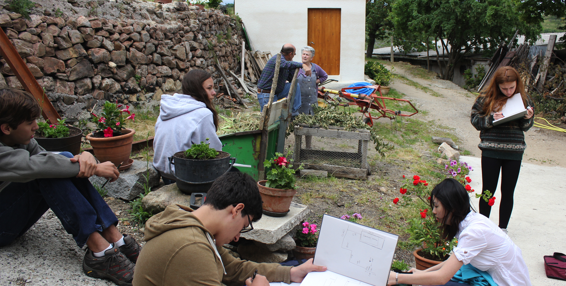 architecture students surveying a site