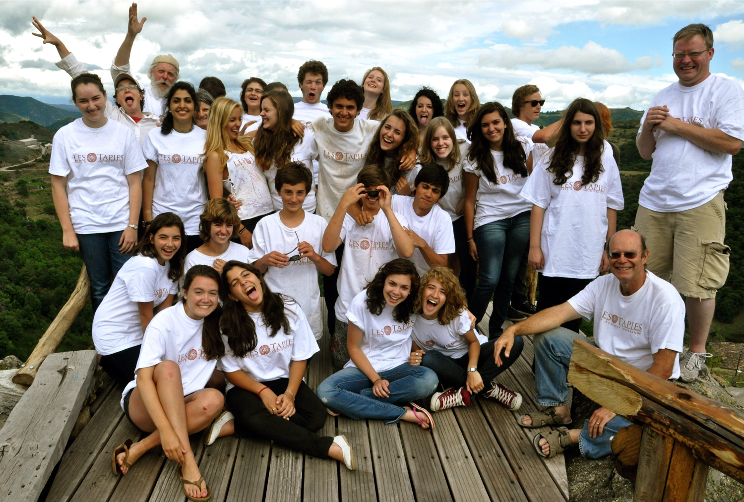 les tapies summer art and architecture students posing on the new terrace