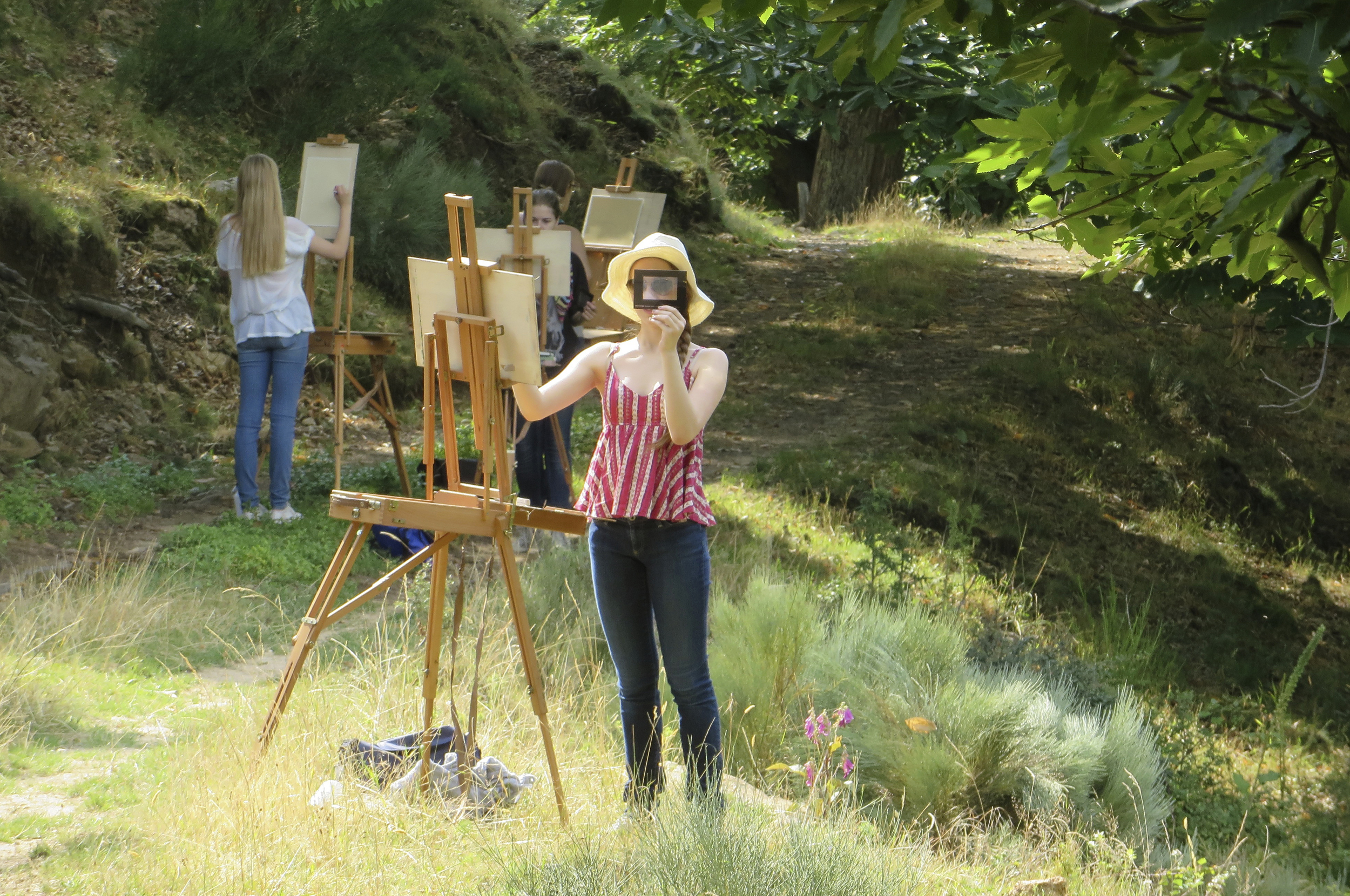 Drawing and Painting students working outside in the landscape