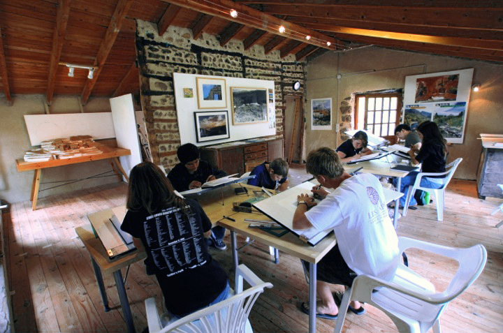 high school students working in the architecture studios at les tapies, france