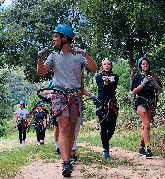 Adventure day! People were going all different directions today. Some took a break to go zip lining, hiking or exploring a river, and others traveled to a gorgeous viewpoint on the Massif Central to capture the landscape in watercolor and conte chalk. #lestapies #adventure #sundayfunday #excursion #zipline #summerartprogram