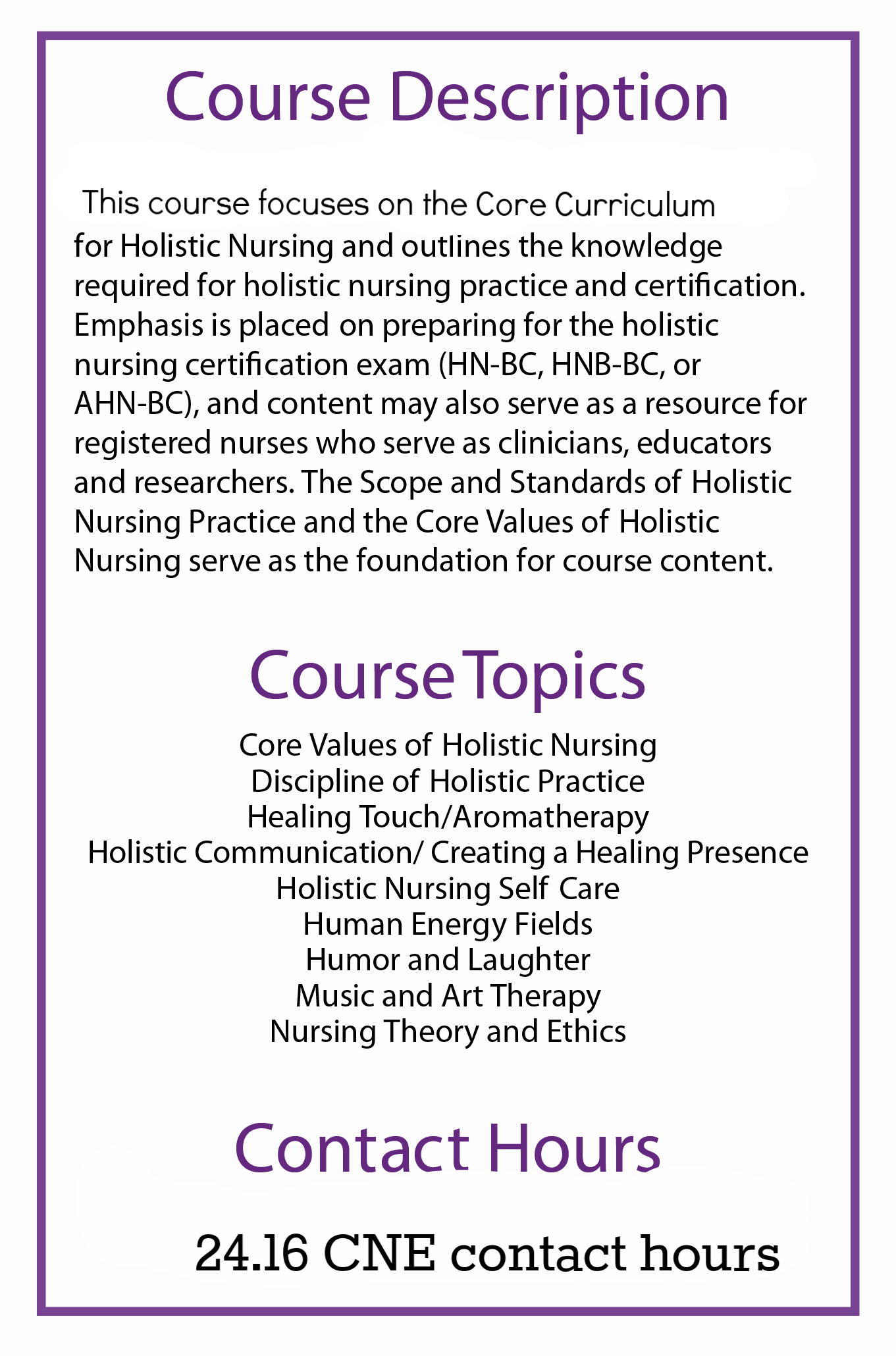 Corrected Course Description