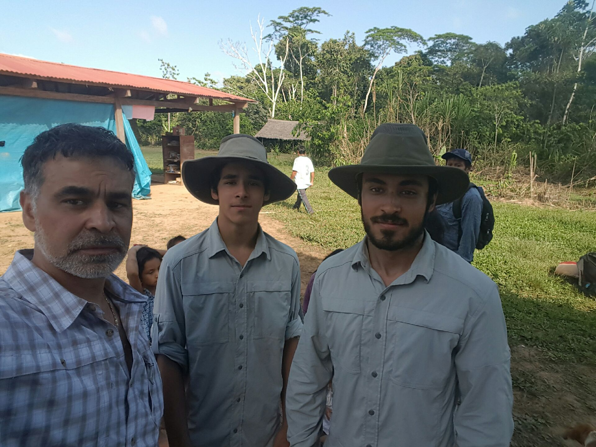Mas with his two sons in Peru supporting  Rainforest Flow  Non Profit, July 2016