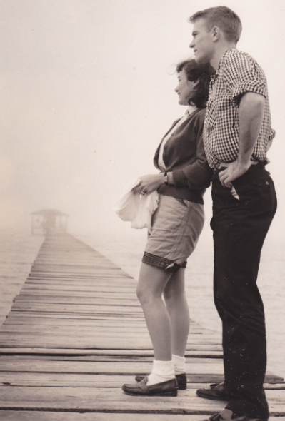 Mary Jo and George at Mobile Bay, Alabama, circa 1956.