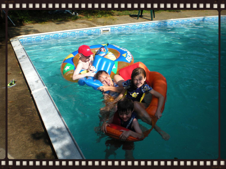 Pool antics, summer 2010.