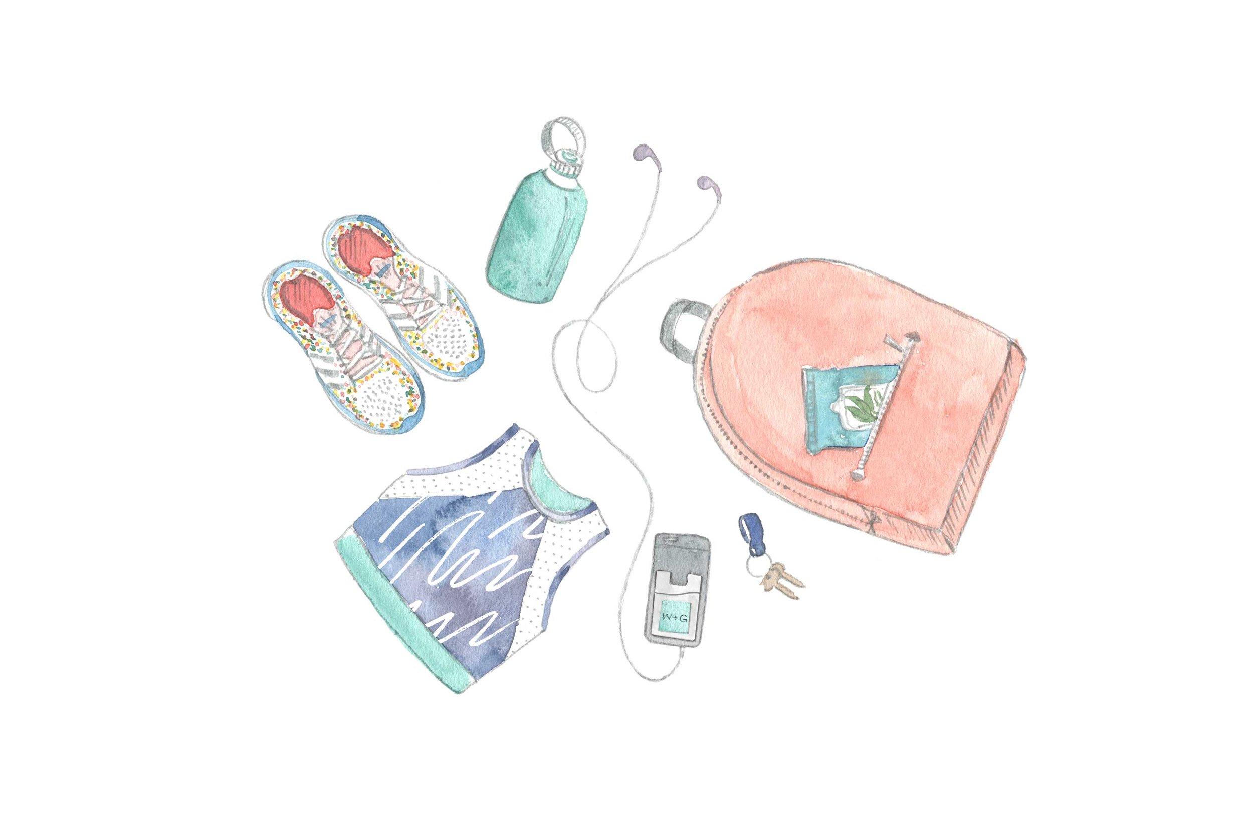 erin-ellis_lifestyle_watercolor_illustrations_gym_bag_flatlay_well+good.jpg