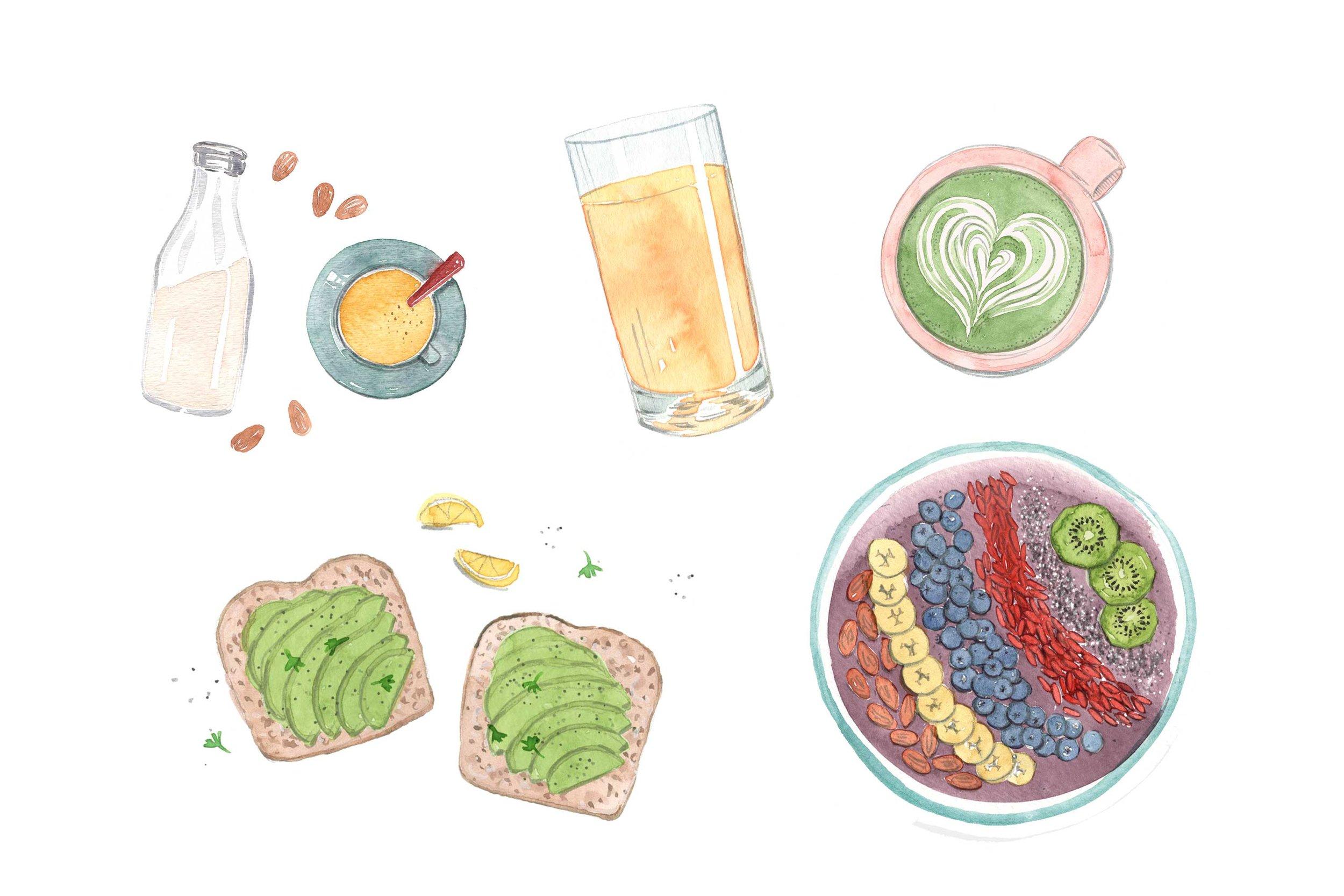 erin-ellis_lifestyle_watercolor_illustrations_breakfast_food_well+good.jpg