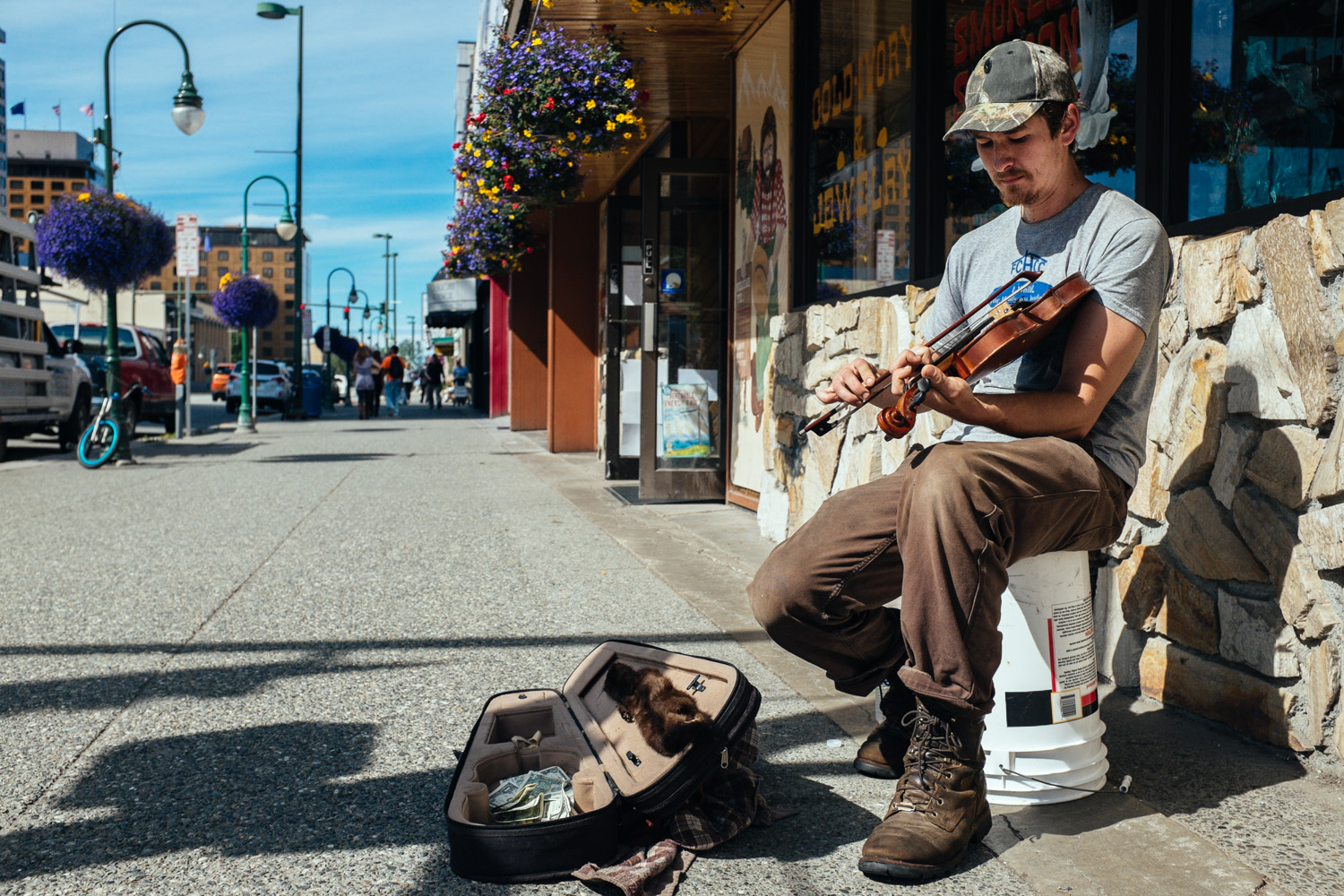 This guy was playing his heart out on the fiddle right outside a popular Anchorage gift shop on 4th Avenue.