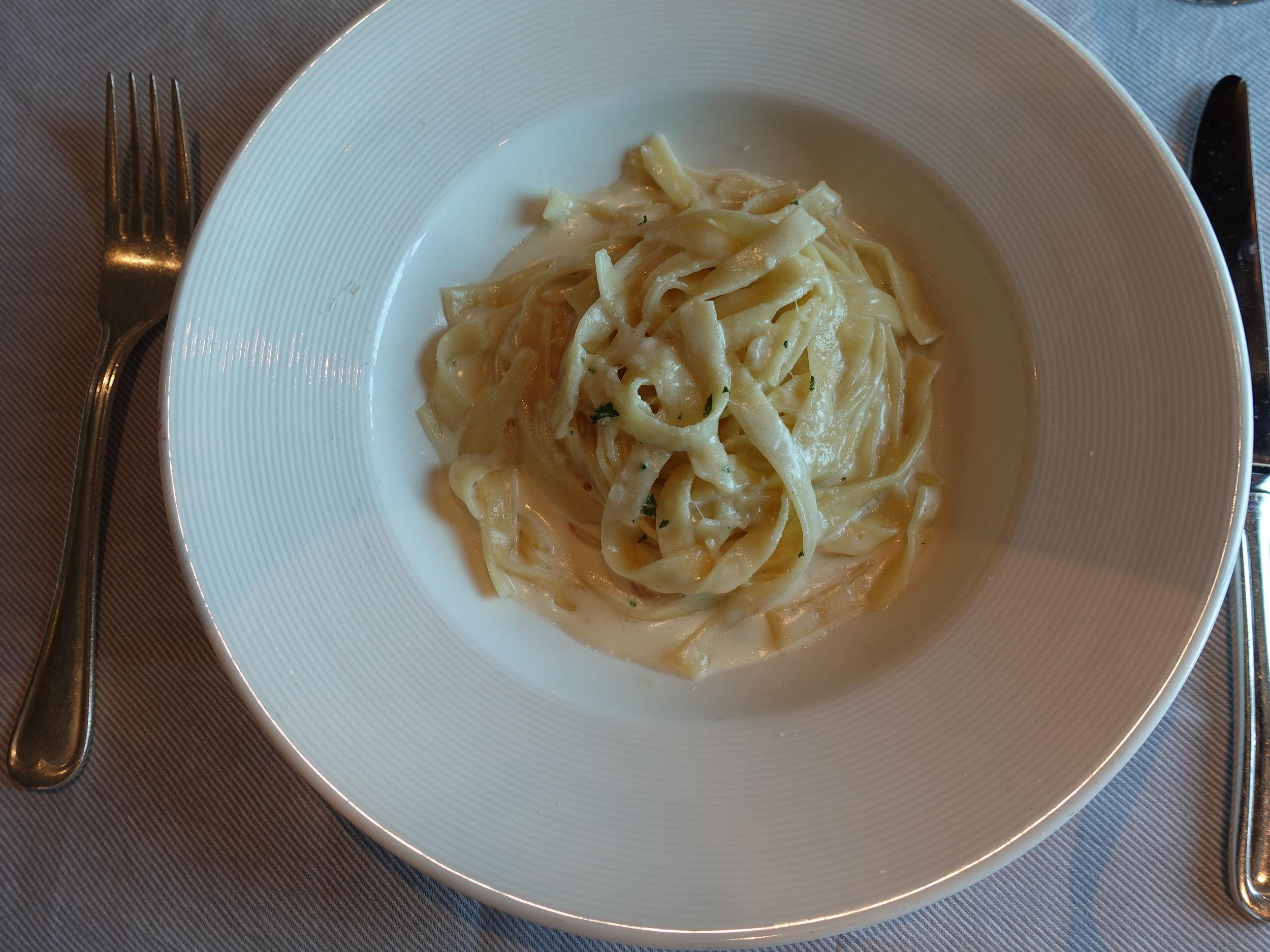 The very tasty fettuccini starter in the main restaurant.