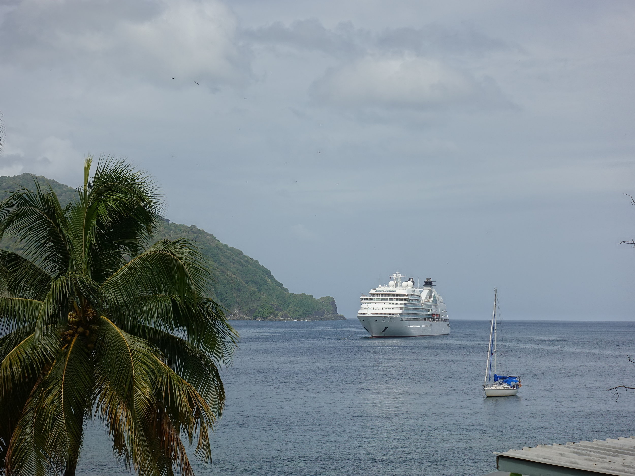 Seabourn Odyssey anchored off the beautiful port of Charlotteville in Tobago.