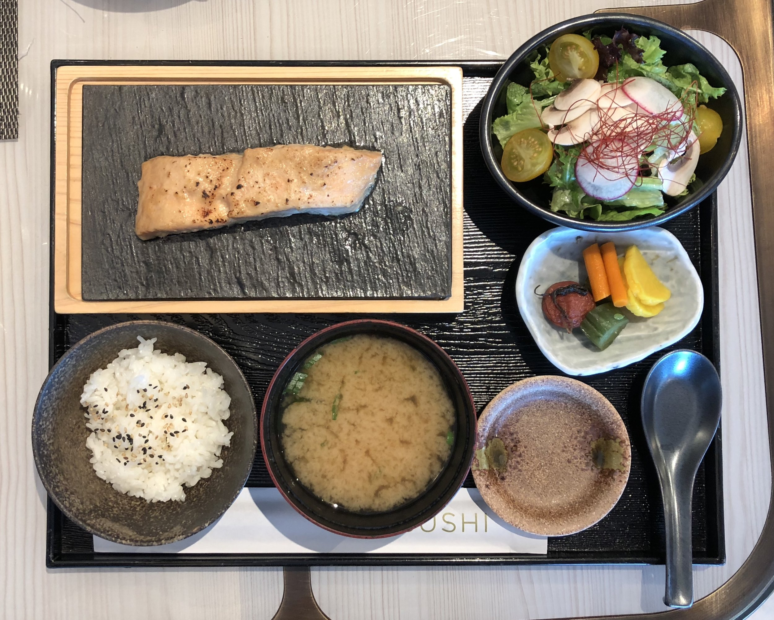 The salmon Bento box served at lunchtimes in the Sushi restaurant.