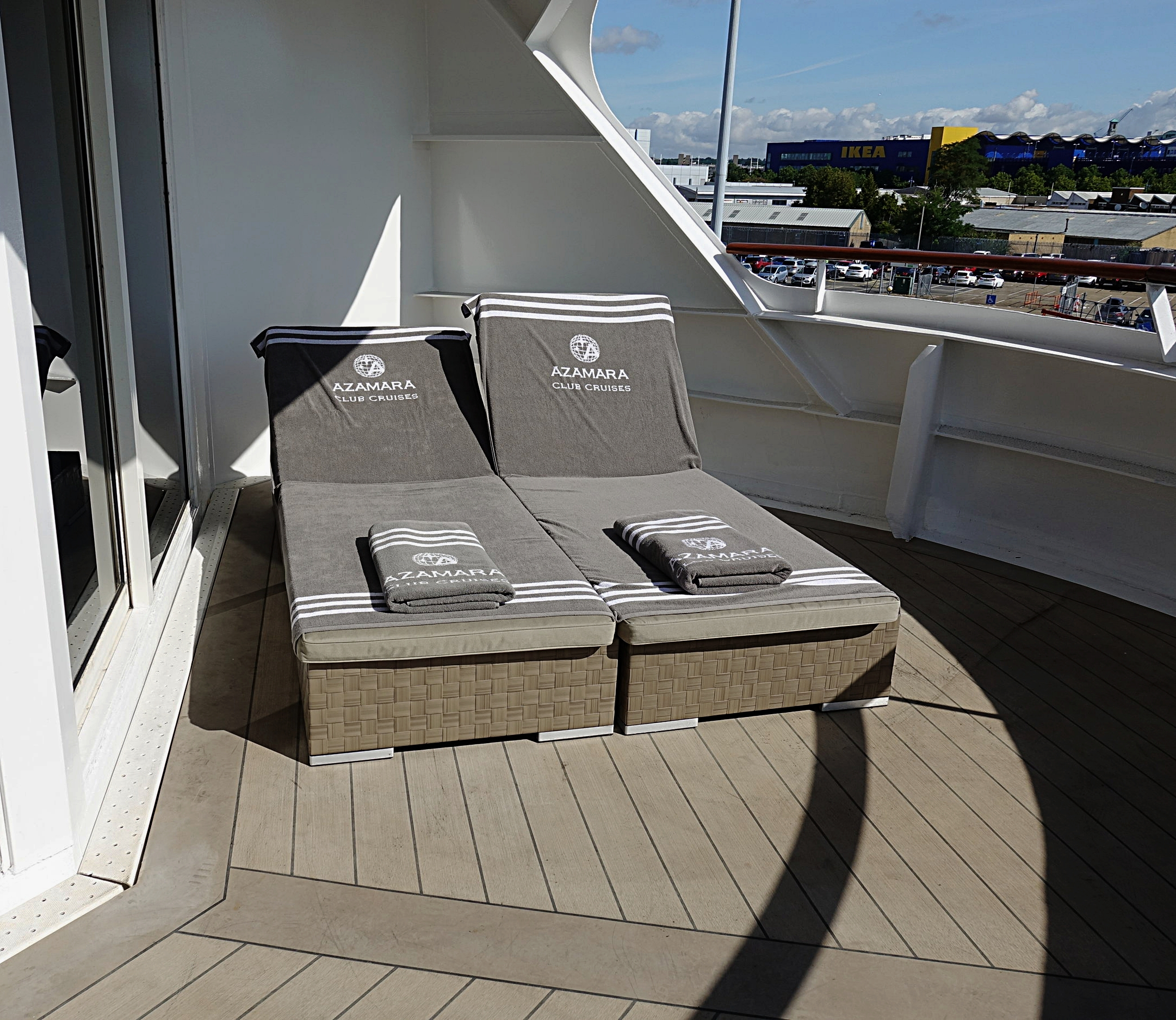 The loungers on the expansive balconies of the Owners suites.