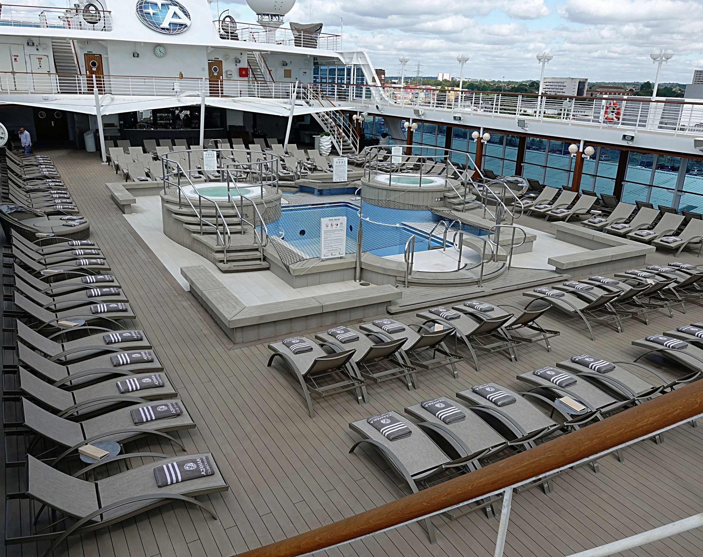 Looking down on the pool deck.
