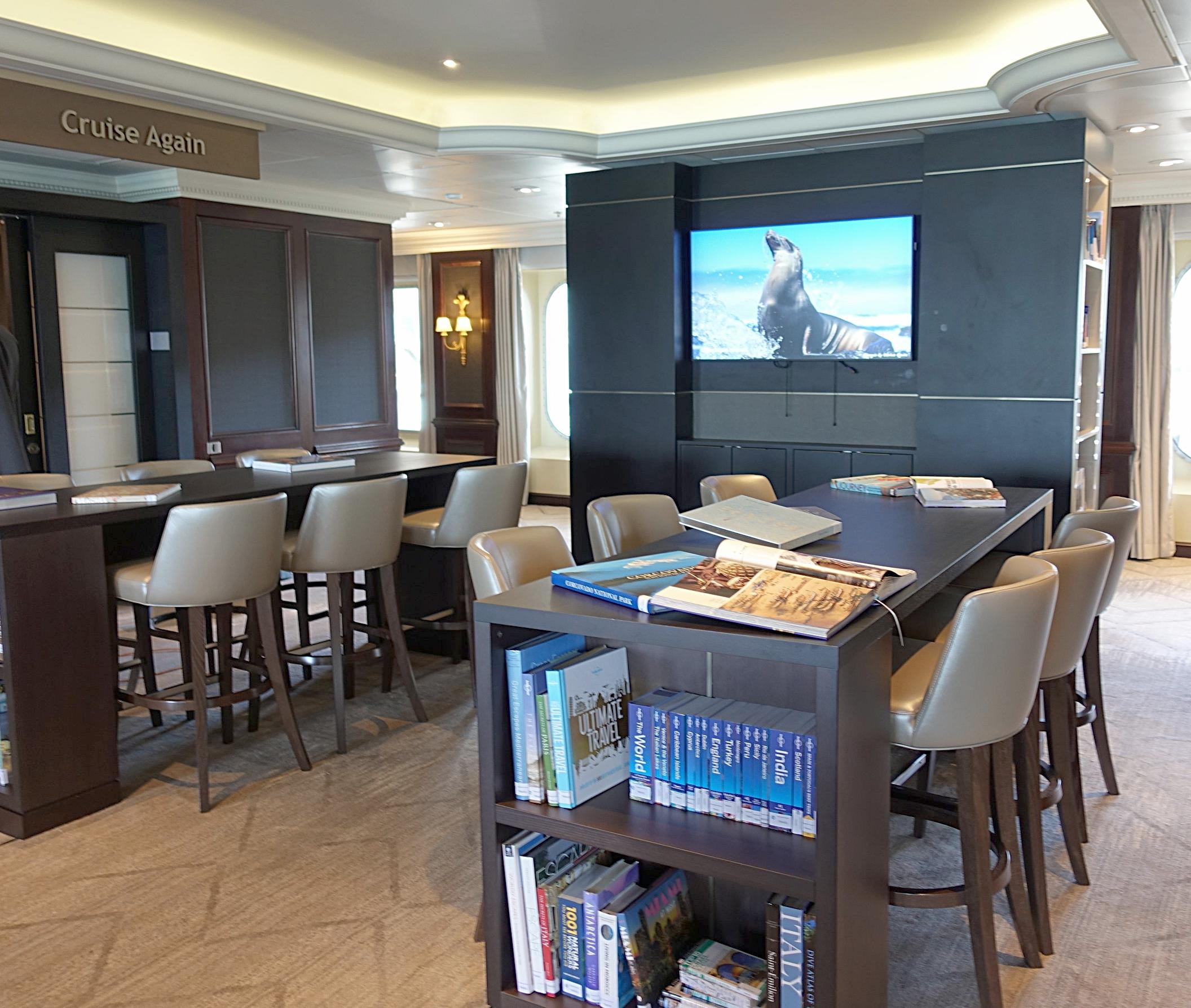 Shore excursions and Future Cruises desks.