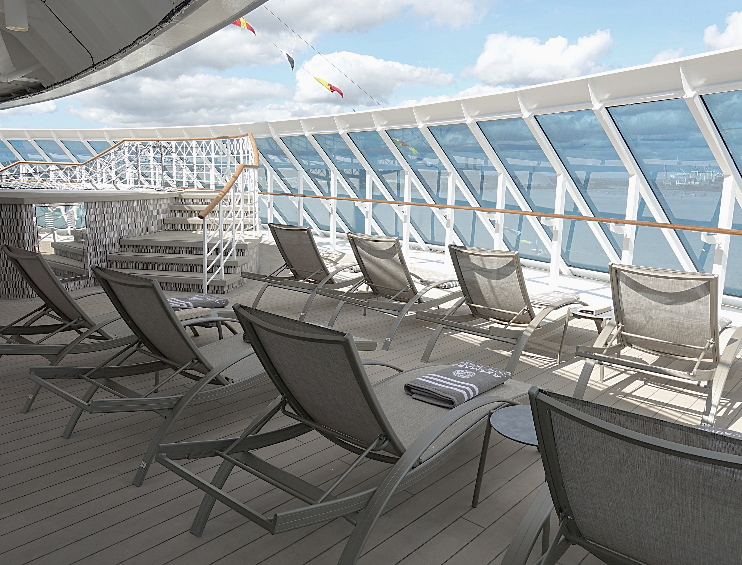 The private sun deck located in front of the Spa and Gym.