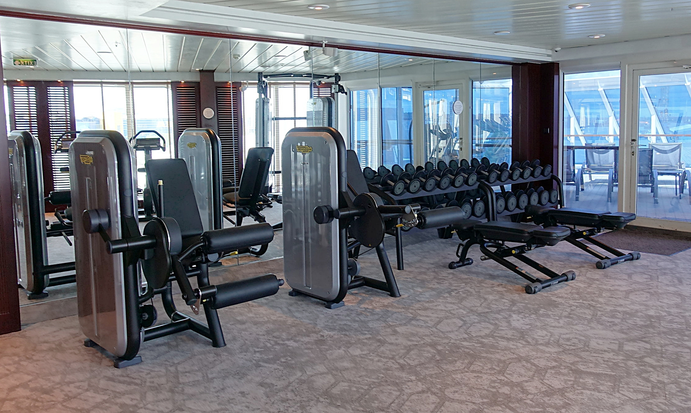 The weights area in the gym.
