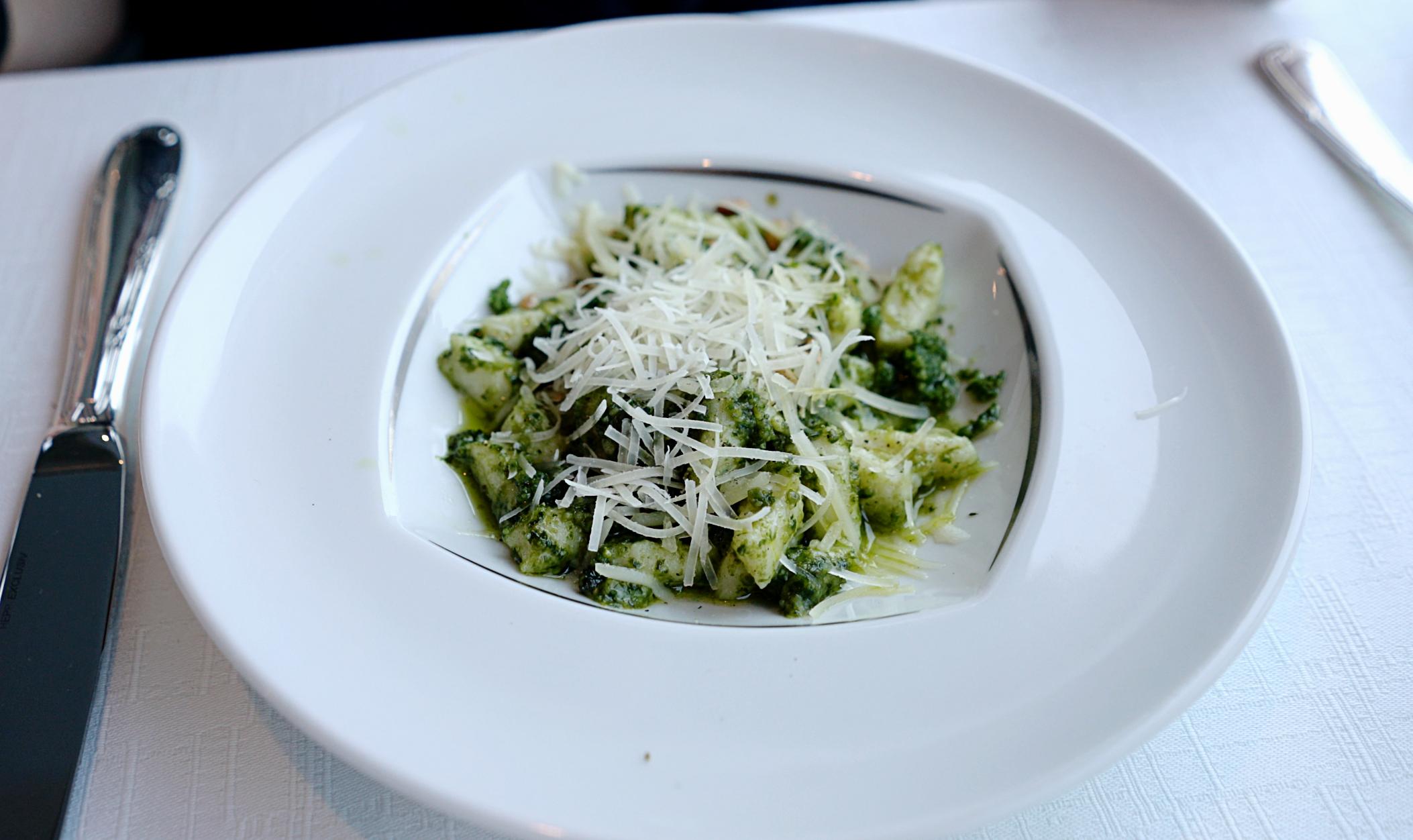 The Gnocchi starter in the Aqualina restaurant.