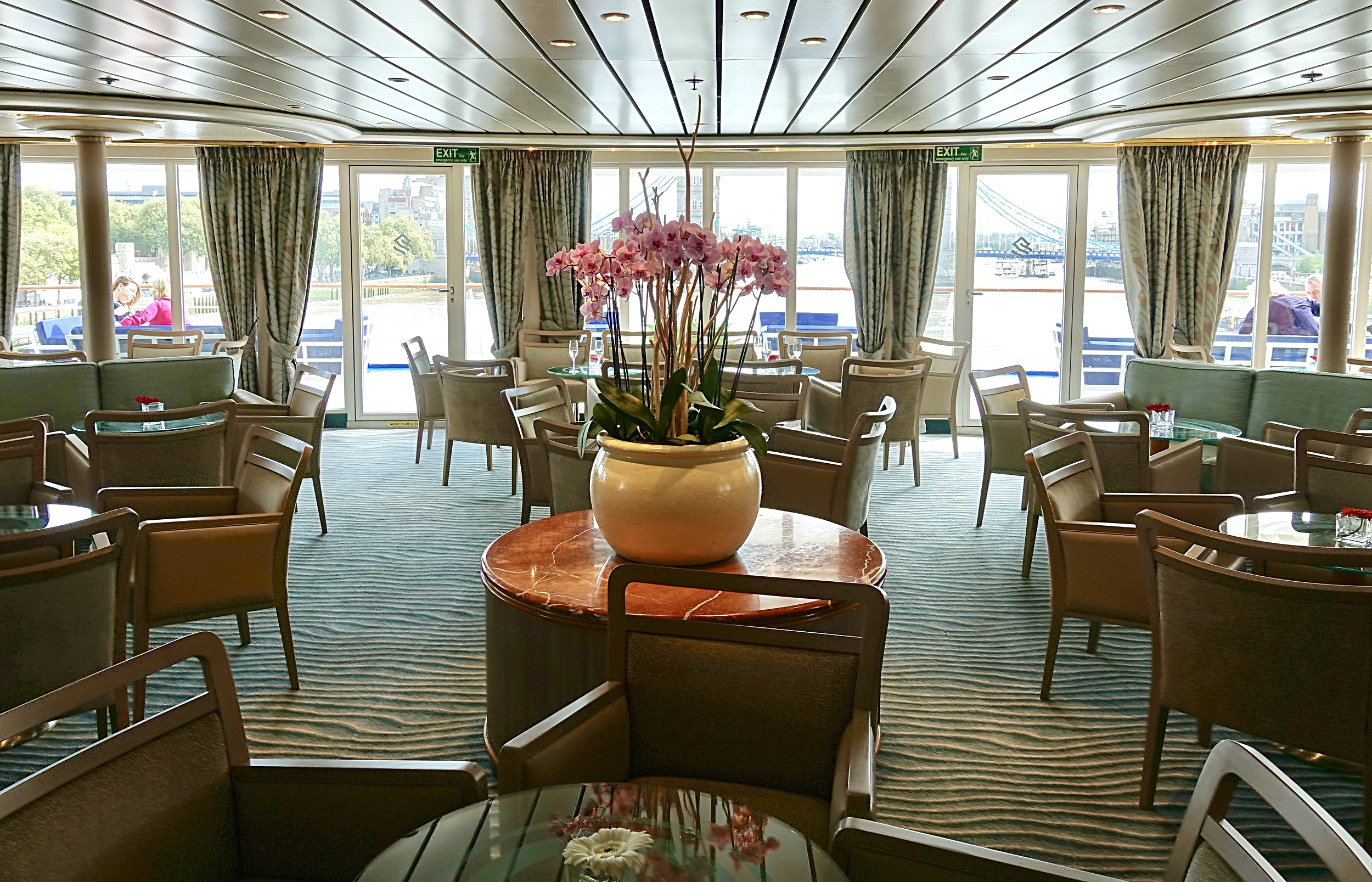 The beautiful Panorama Lounge, the hub of the ship.