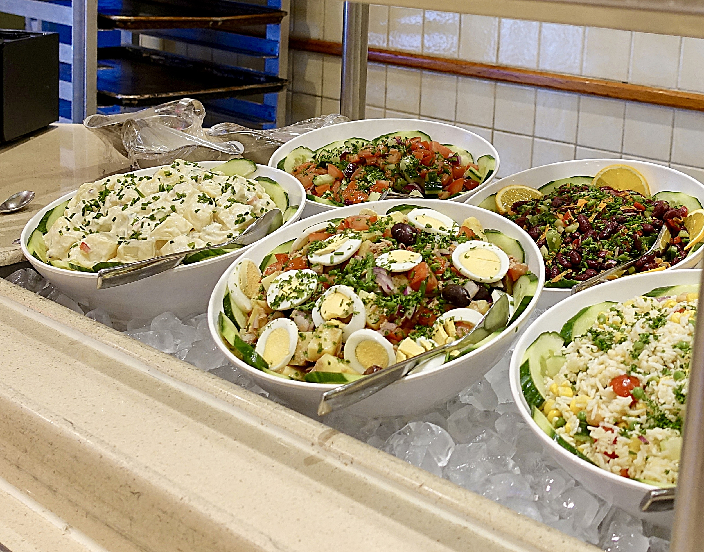 Some very delicious salads, my favourite part of any buffet, yum!