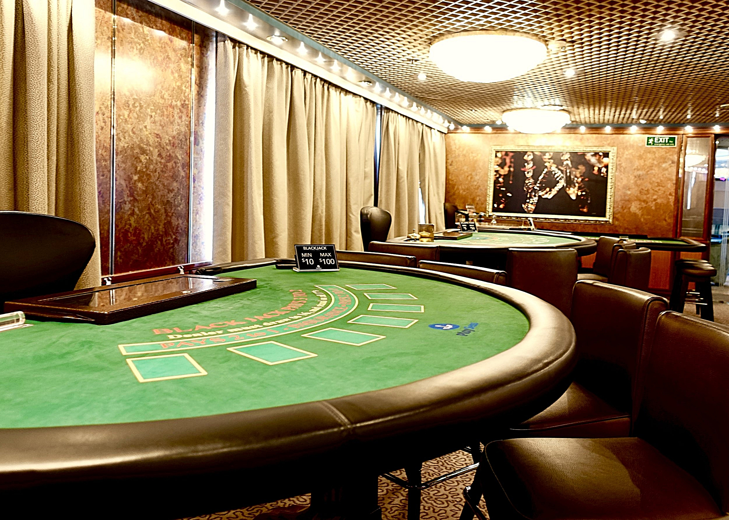 The Casino card tables.