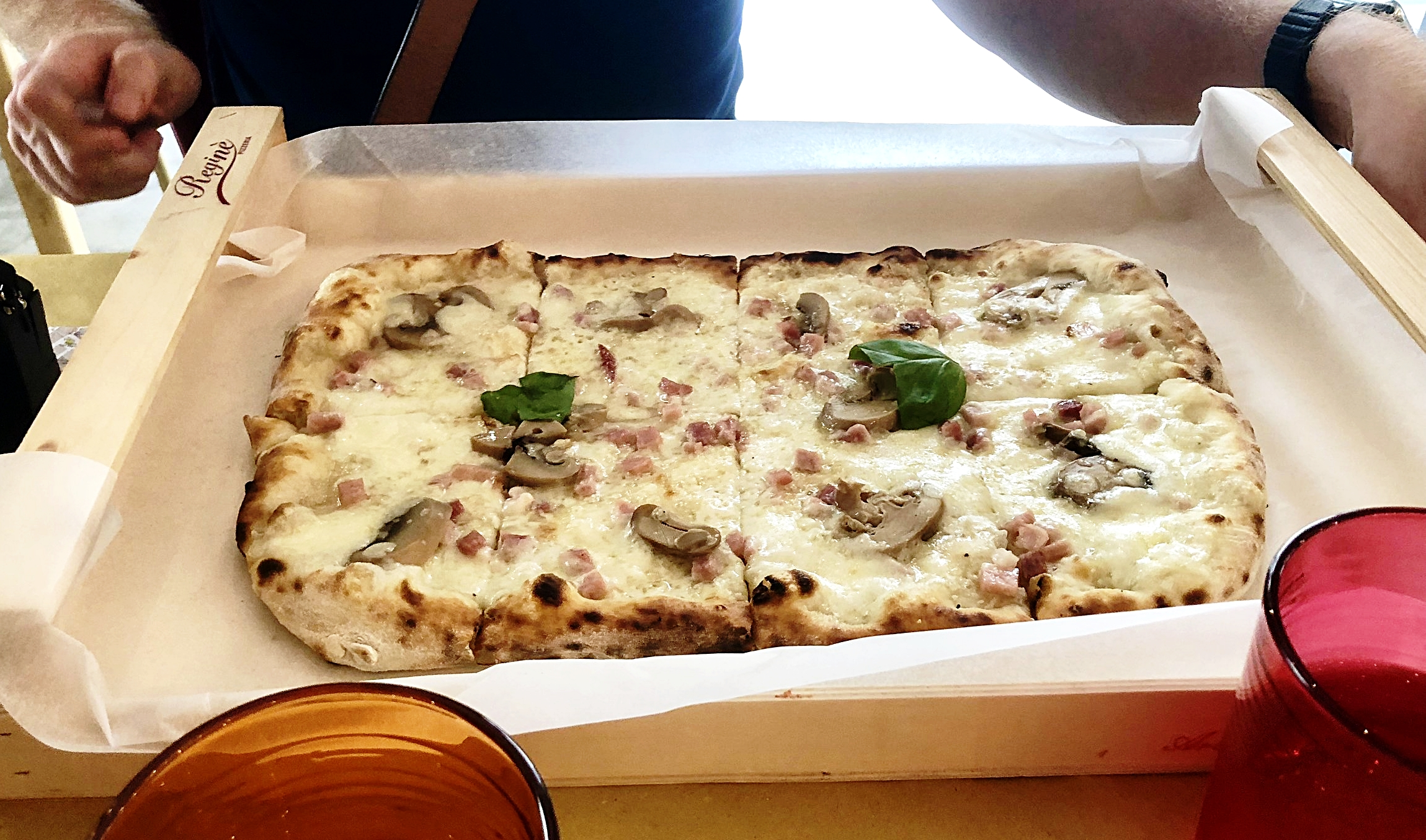 Authentic and delicious Italian pizza served in a wooden box!