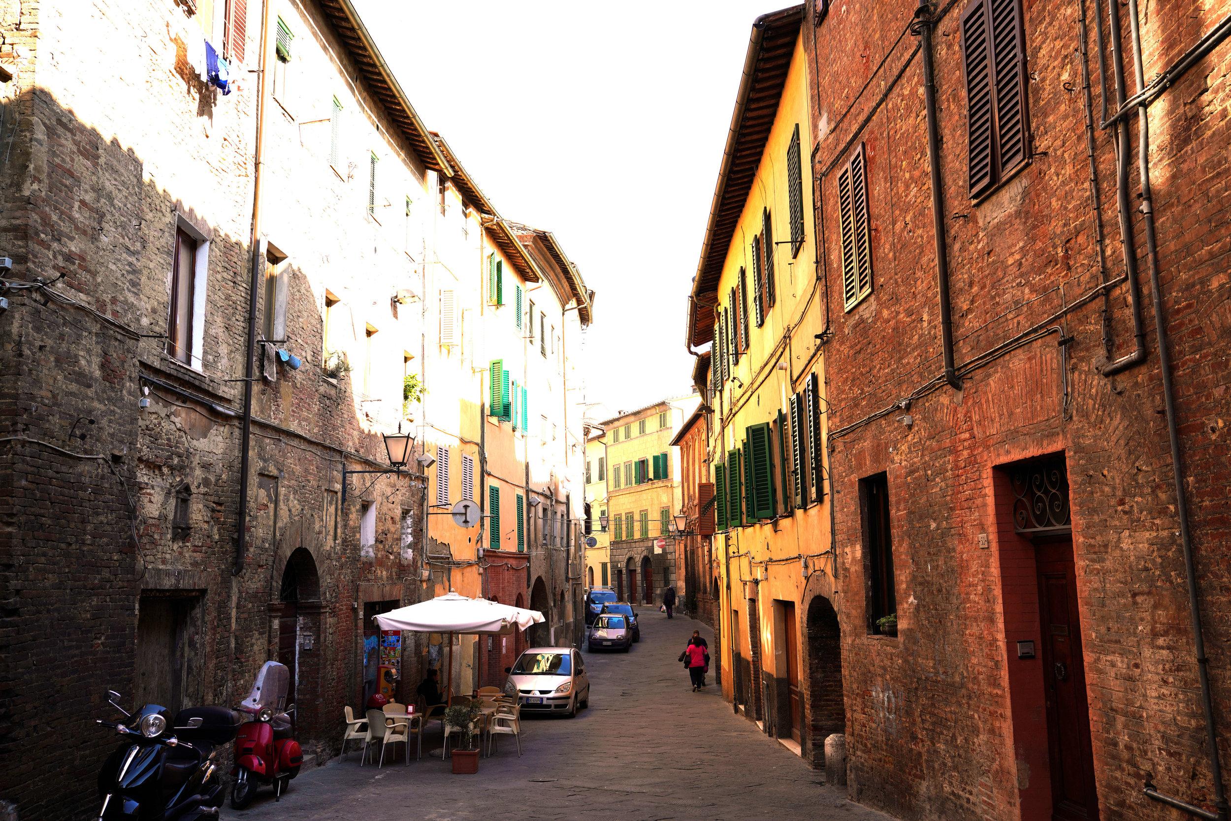 The narrow, steep streets of Siena.
