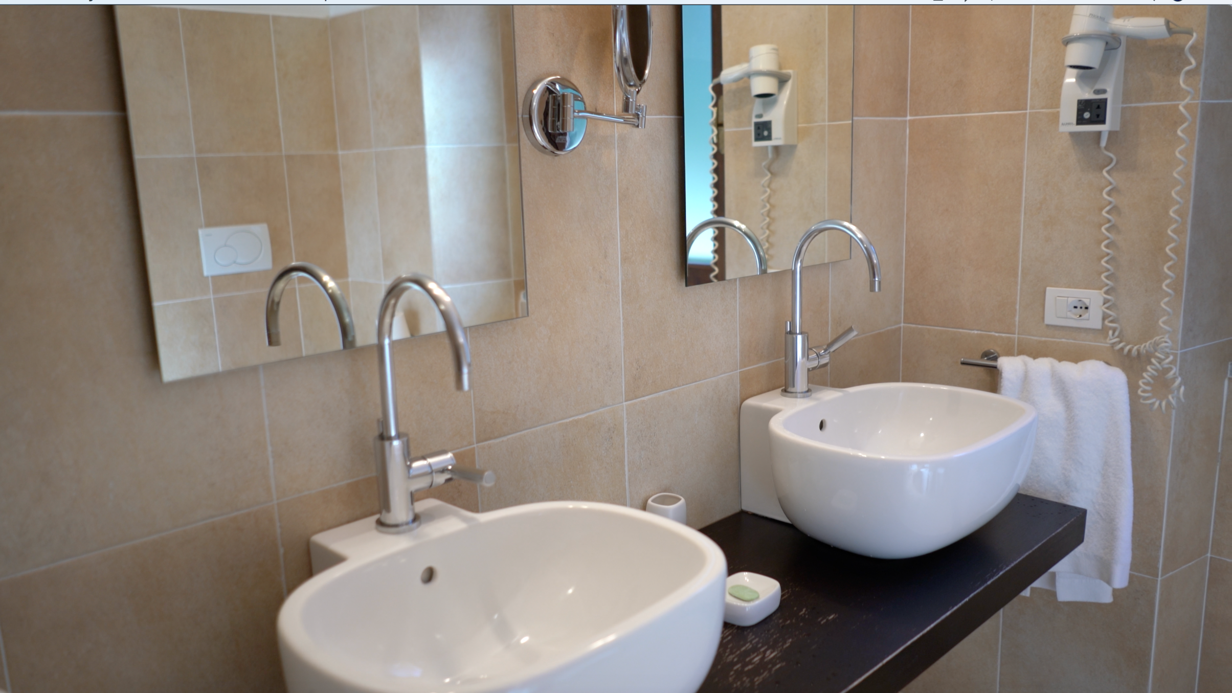 The double sink in the very spacious and beautifully appointed bathroom.