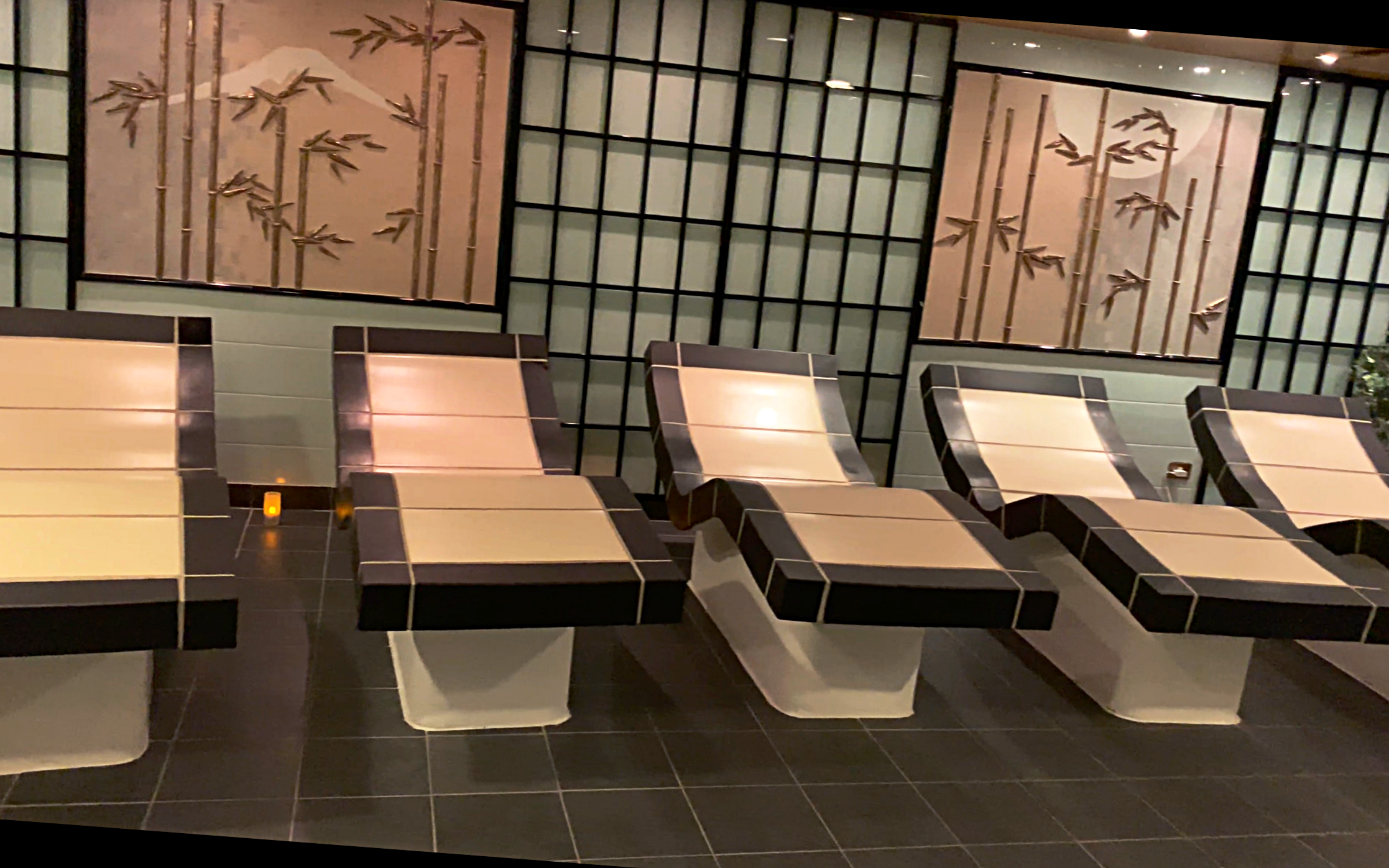 Heated beds in the inside spa area.