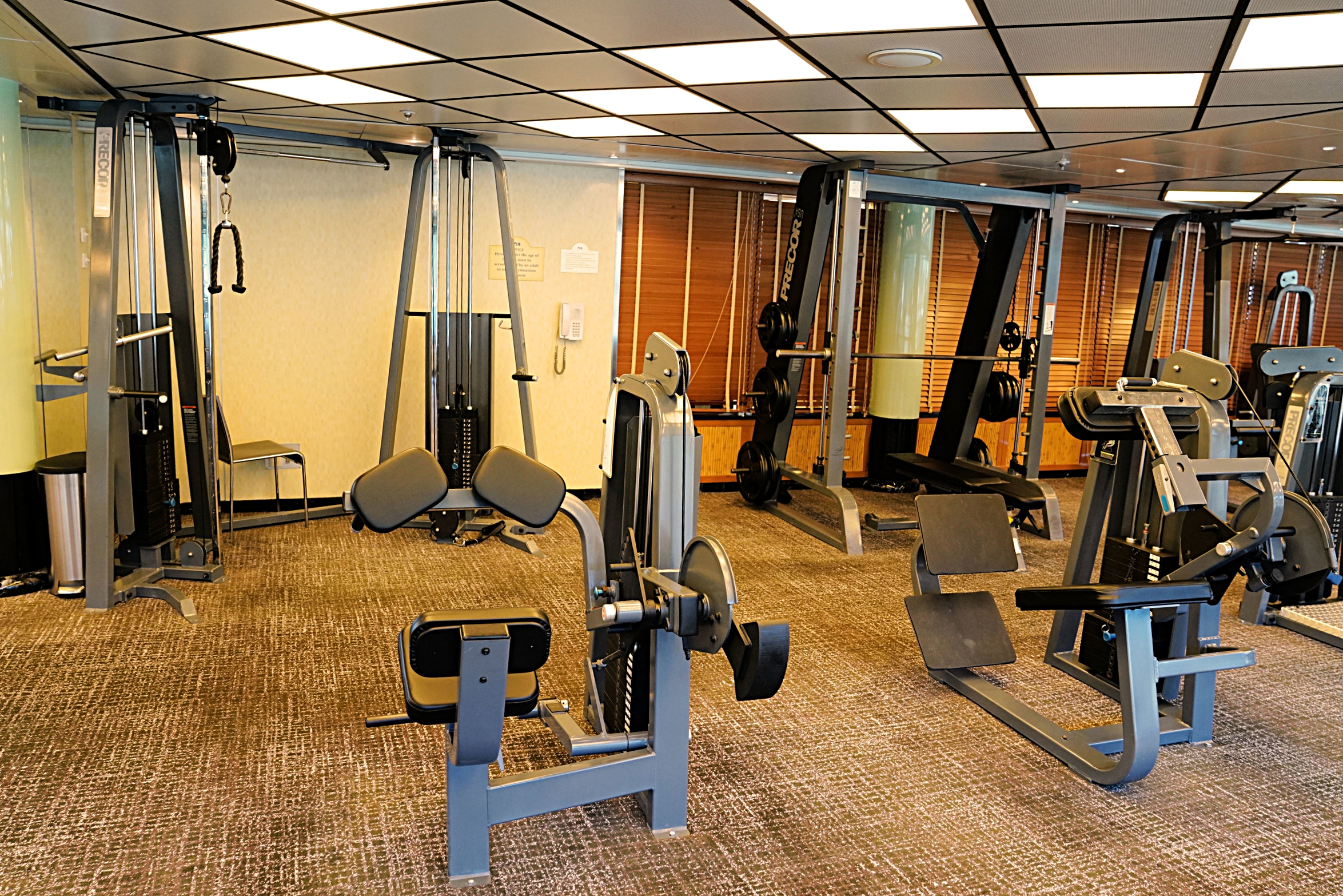 The well equipped and spacious gym.