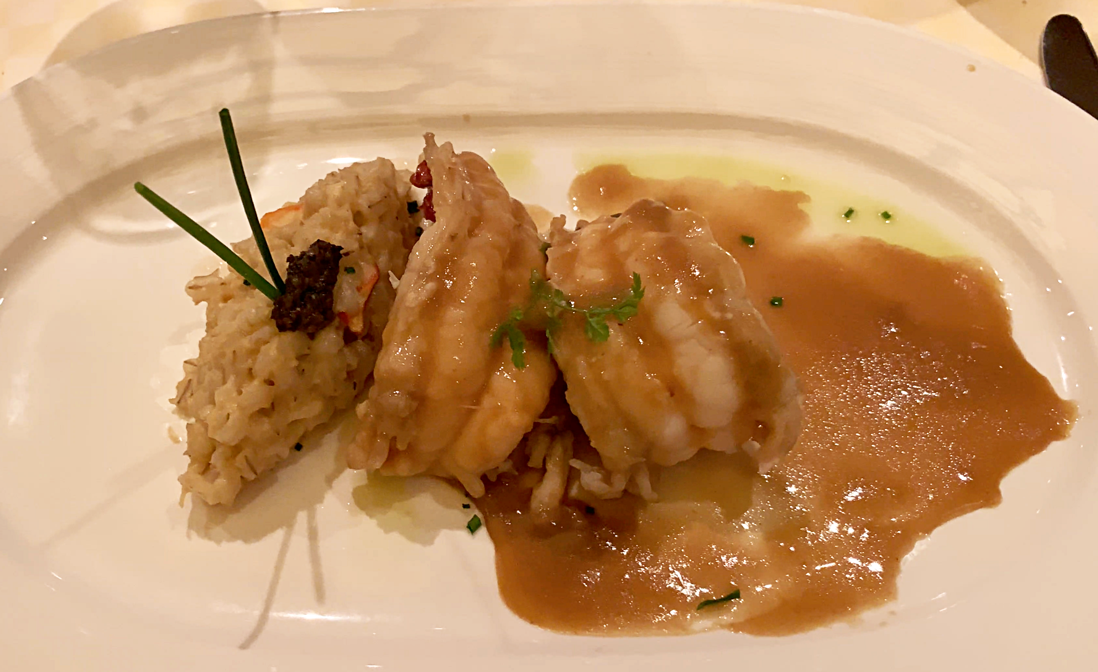 Sabatinis Lobster tail with risotto.