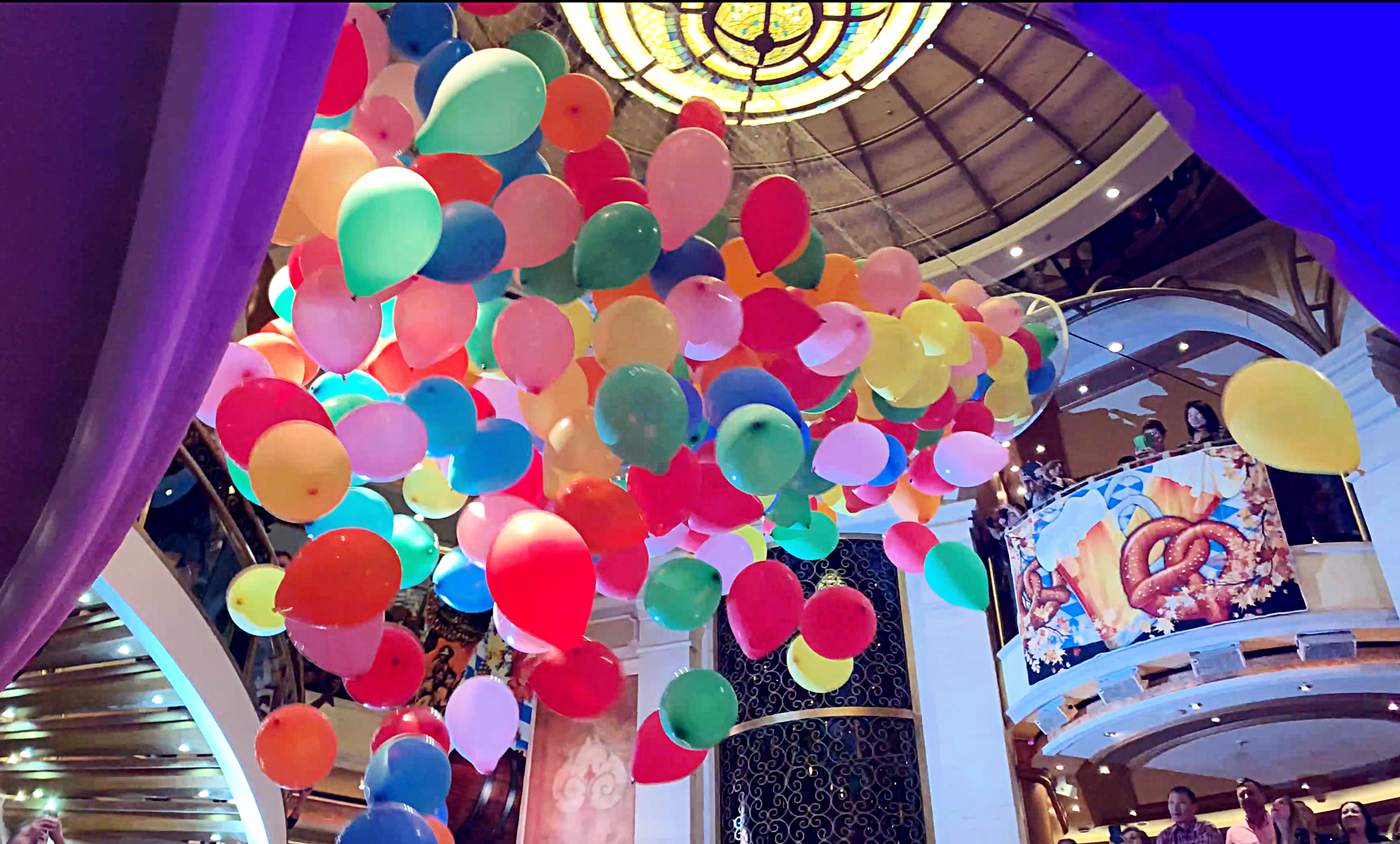 And continues with the colourful balloon drop!