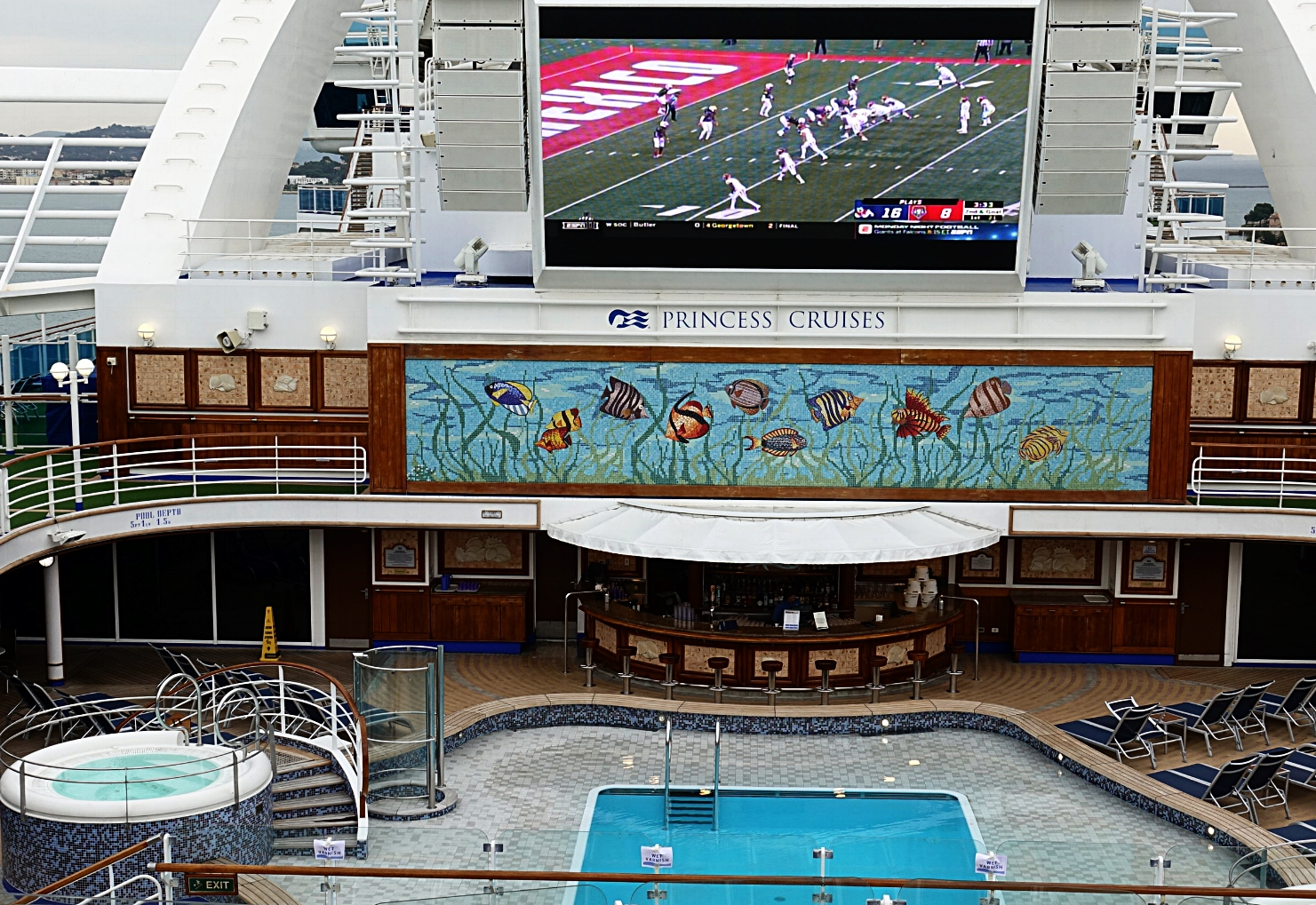 The Calypso pool, the smaller of the two mid-ships pools.