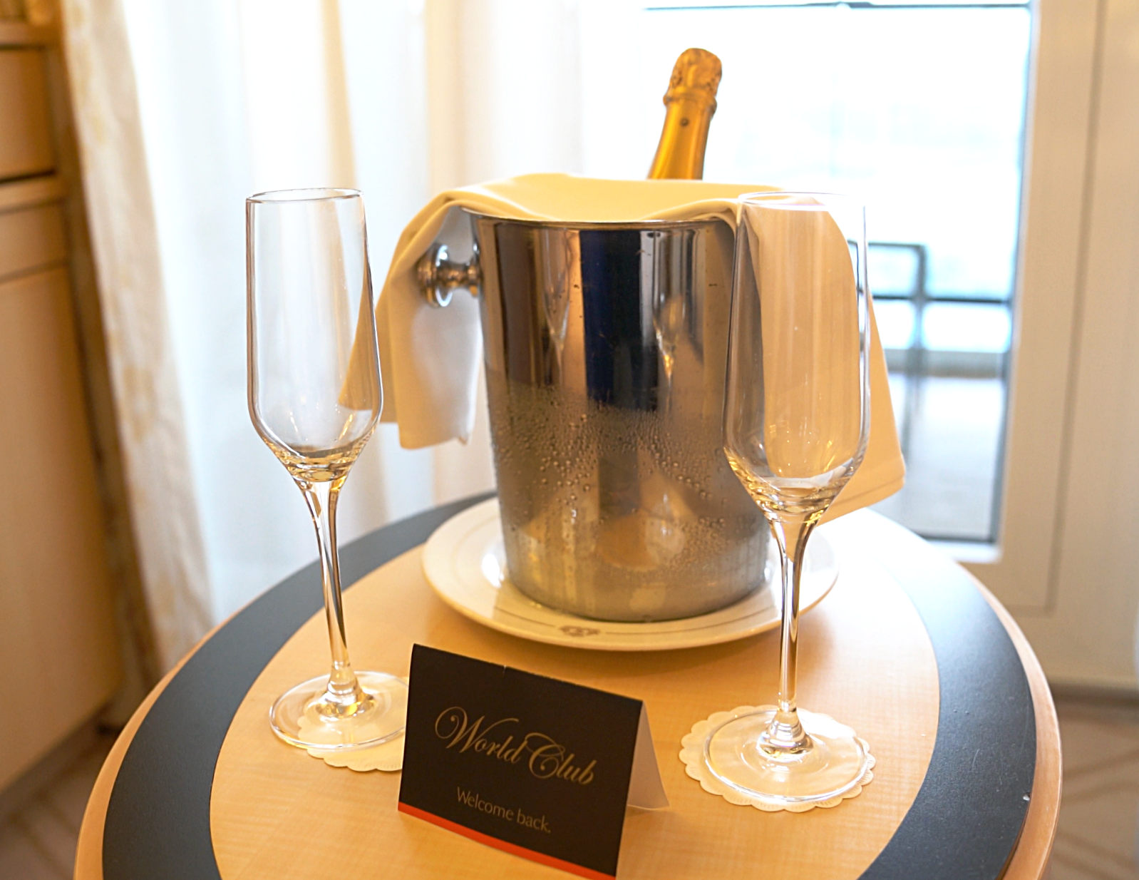 There really is no better sight than the Welcome Back ice bucket and champagne glasses!