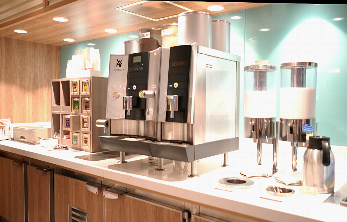 The self service tea and coffee stations.