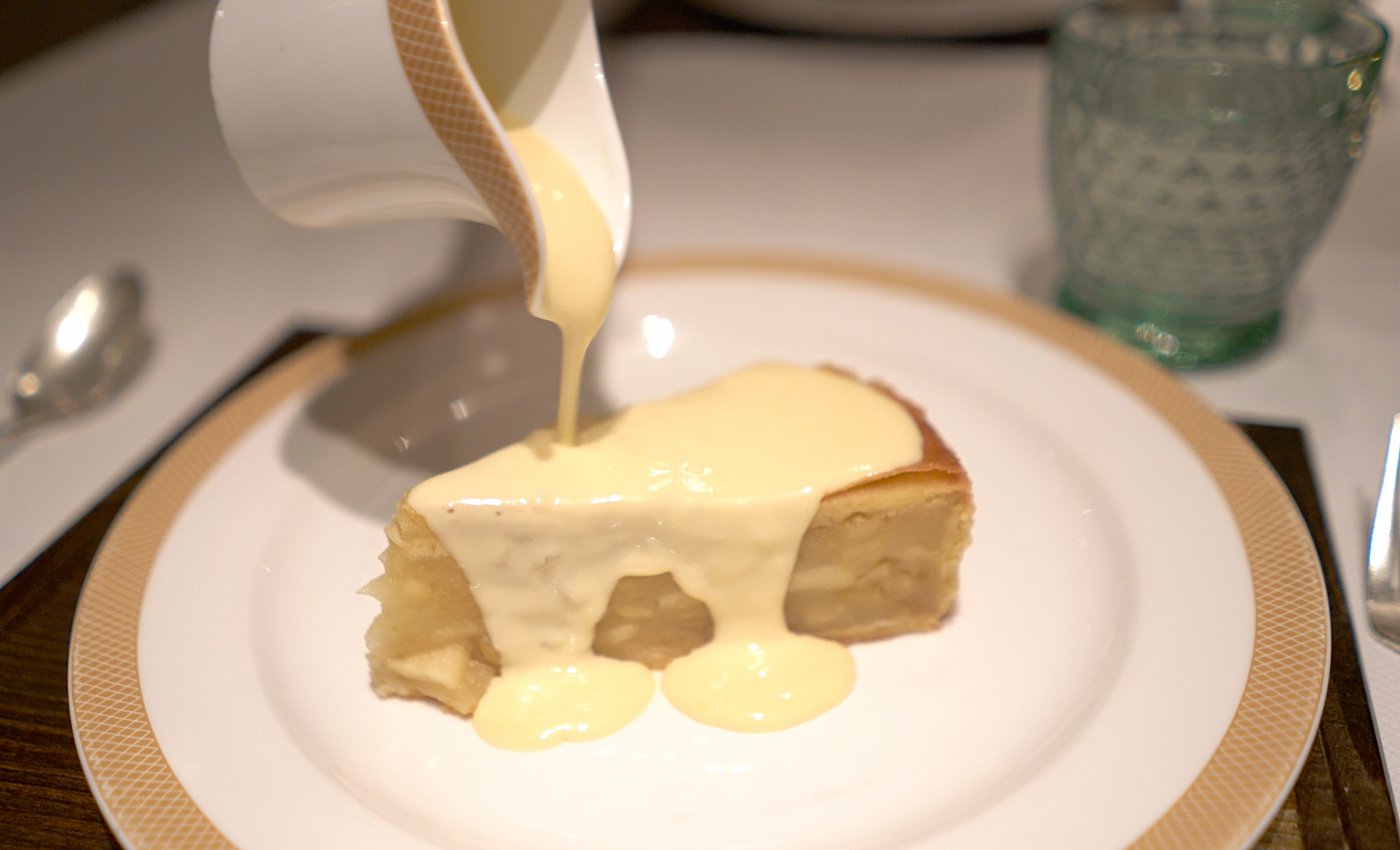 Classic and delicious, apple pie and custard.