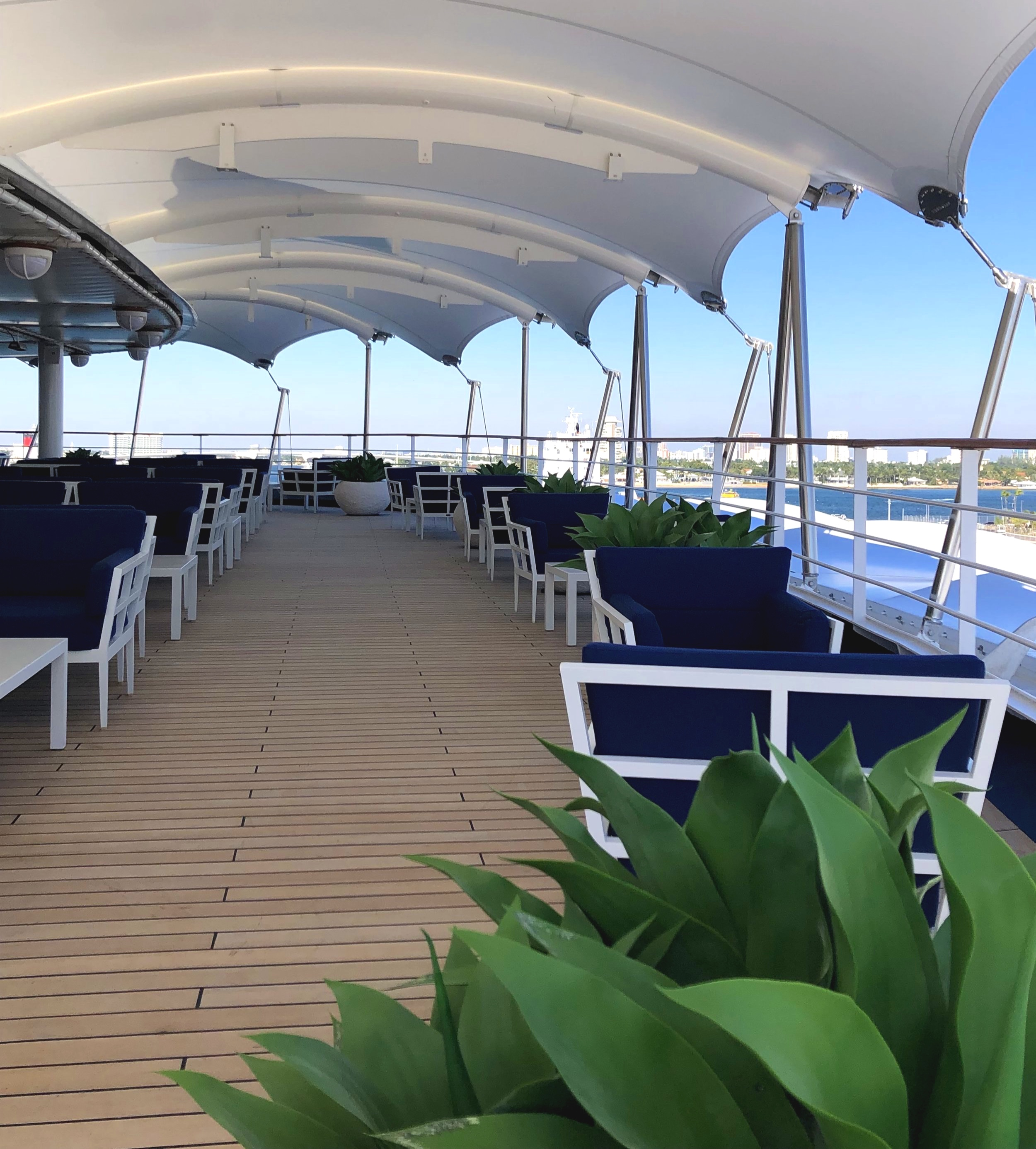 What better place to wait for our suite to be ready than the beautifully serene outside deck of the Panorama lounge?