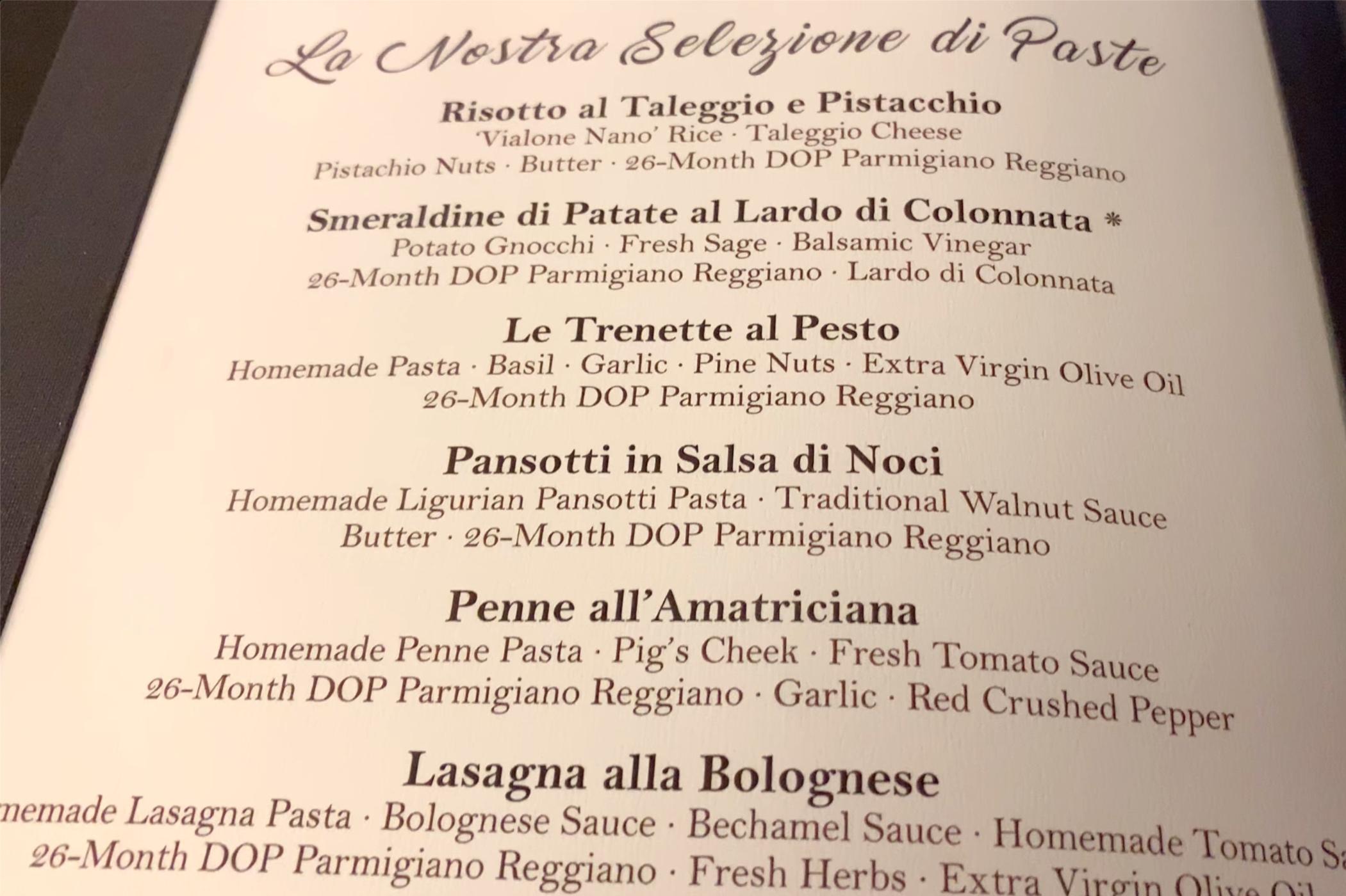 La Terraza pasta choices.