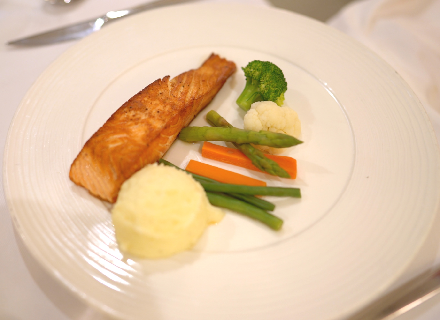 In-suite grilled salmon and vegetables.
