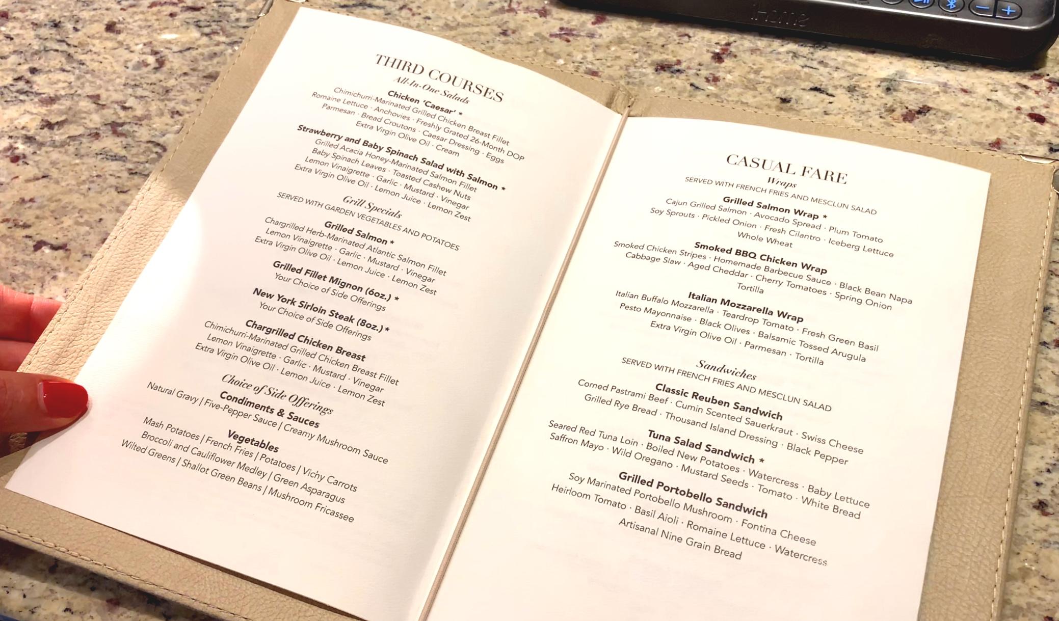 Room service menu.
